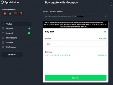 BitCasino/SportsBet includes MoonPay. Buy Crypto on site!